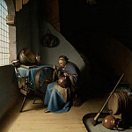 Gerrit Dou - An Elderly Woman Seated by a Window at her Spinning Wheel Eating Porridge