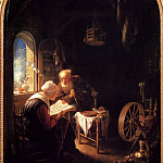 Gerrit Dou - The Bible Lesson Or Anne And Thomas