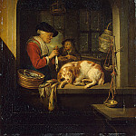Gerrit Dou - The herring seller, 1670-75, 41x30 cm, Eremitaget