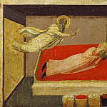 Giovanni di Paolo - Scenes from the Life of Saint Stephen - Gamaliel Appears in a Dream to the Priest Lucian
