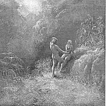 Gustave Dore - So parted they the Angel up to heaven From the thick shade and Adam to his bower