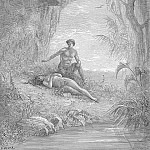 Gustave Dore - Leaning half naked with looks of cordial love Hung over her enamoured