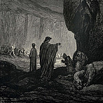 Gustave Dore - Then my guide his palms expanding on the ground thence filled with earth rais'd t