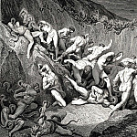 Gustave Dore - Naked souls are being haunted through this cruel barren land of serpents without
