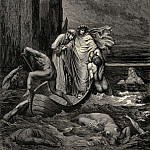 Gustave Dore - My teacher sage aware thrusting him back -Away down there to th- other dogs-