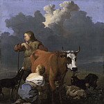 Peasant Girl Milking a Cow