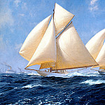 J Steven Dews - Columbia and Shamrock off Rhode Island 1899