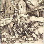 Durer Engravings - The Prodigal Son in a country far away (repentance of the Prodigal Son)