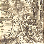 Durer Engravings - Saint John, absorbing the book of Revelation