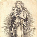 Durer Engravings - Madonna on the crescent