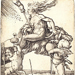 Durer Engravings - Witch sitting on a goat backwards