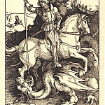 Durer Engravings - St. George, striking the dragon
