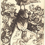 Durer Engravings - Coat of arms with a lion and a rooster