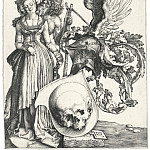 Durer Engravings - Shield with skull (Coat of Arms and the skull)