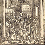 Durer Engravings - Adoration of the Blessed Virgin Mary with Child and Angels Apostles