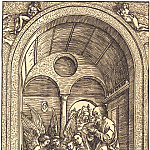 Durer Engravings - The Holy Family with two angels in the vaulted