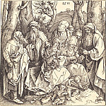 Durer Engravings - The Holy Family with St. Anne et al., With two angels playing music