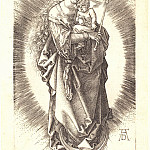 Durer Engravings - Madonna on the crescent moon in the crown of stars and scepter