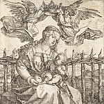 Durer Engravings - Madonna, crowned by two angels