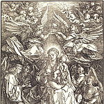 Madonna surrounded by many angels, Durer Engravings