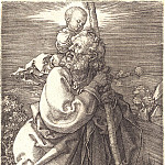 Saint Christopher, looking to the left, Durer Engravings