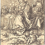 Durer Engravings - Holy Family on a grassy Bench