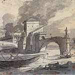 View of the Tiber and Castel St. Angelo, Jacques-Louis David