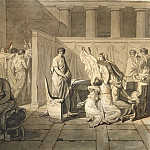 Lictors bearing to Brutus the bodies of his sons , Jacques-Louis David