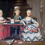 Group portrait of a boy and two girls building a house of cards with other games by the table, Francois-Hubert Drouais