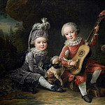 Francois-Hubert Drouais - Children of the Marquis de Bethune Playing with a Dog