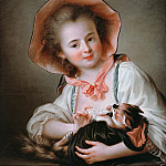 Young girl with a cat playing, Francois-Hubert Drouais