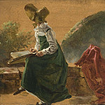 Gustave Courbet - Princess Caroline Amalie Sketching in Naples. Study