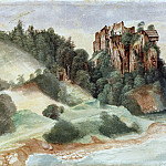 View of a castle overlooking a river, Albrecht Dürer