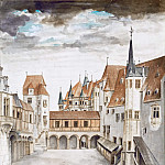 Courtyard of the Former Castle in Innsbruck with Clouds, Albrecht Dürer