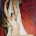 Male Nude, with Arms Up-Stretched