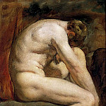 William Etty - Male Nude Crouching