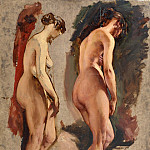 William Etty - Two full-length standing female nudes