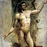 William Etty - Bearded male nude with left arm raised
