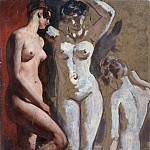 William Etty - Three standing Female Nudes