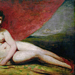 William Etty - NAKED WOMAN WITH RED DRAPERY