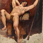 William Etty - Reclining male nude