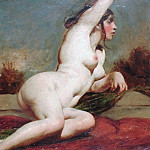 William Etty - Reclining female nude with landscape beyond