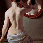 Christoffer Wilhelm Eckersberg - Woman standing in front of a mirror Su