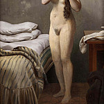 Gustave Courbet - A quaint figure, standing by a bed, sews its hair