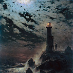 Hans von Marees - Lighthouse on a Cliff by Moonlight