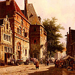 Adrianus Eversen - A Sunlit Street On Market Day
