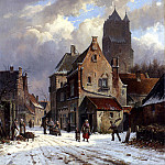 Adrianus Eversen - Figures In A Snowy Village Street