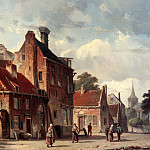 Adrianus Eversen - View Of Town With Figures In A Sunlit Street