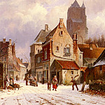 Adrianus Eversen - A Winter Street Scene