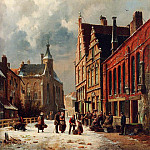 Adrianus Eversen - A View In A Town In Winter